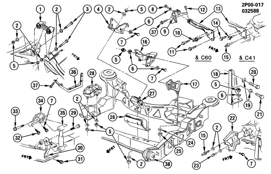 1988 pontiac fiero engine  u0026 transmission mounting