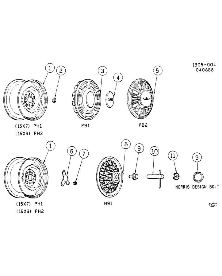 Diagram WHEELS & WHEEL COVERS for your 1999 Cadillac Seville Base 4DR