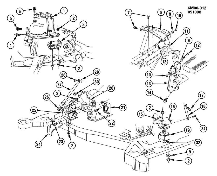 1988 cadillac eldorado engine  u0026 transmission mounting
