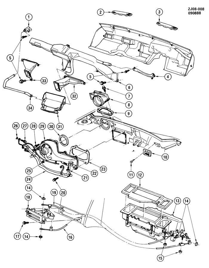 Chevrolet S10 Housing. Air flow control. Outside air ...