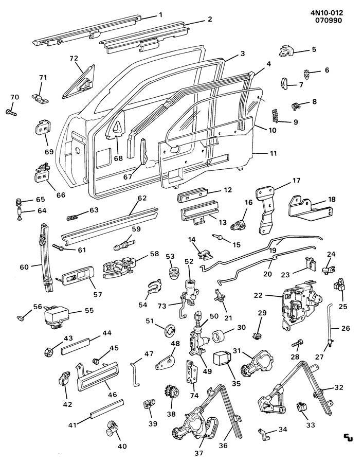 1990 Buick Skylark Base 4dr Sealing Strip  Front Door