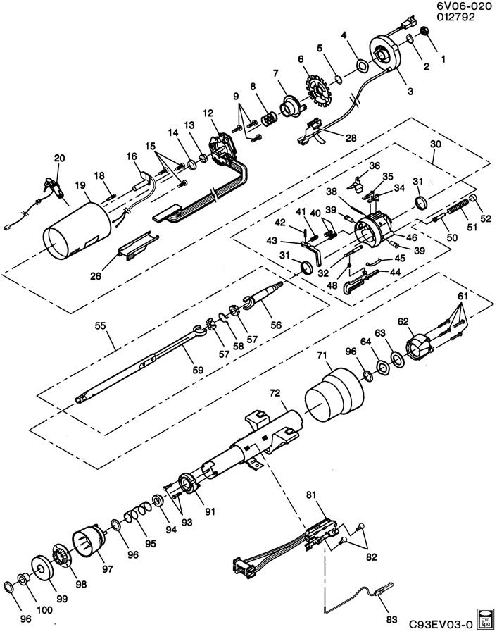 service manual  1992 geo storm tilt steering column repair