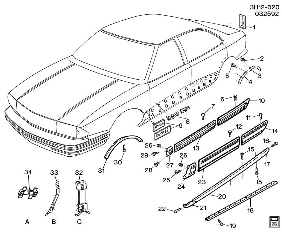 1992 Oldsmobile 88 Molding  Rear Side Door  Matchattach