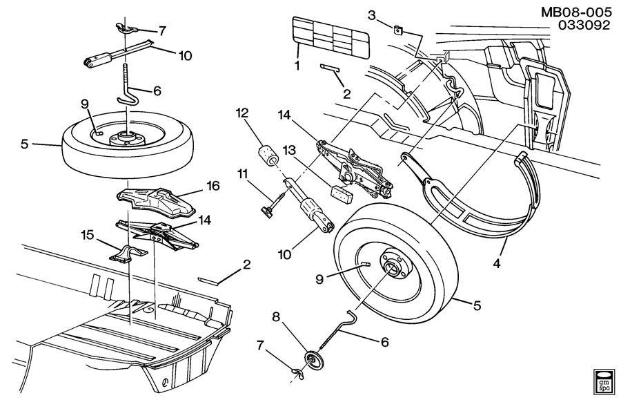 spare wheel stowage  u0026 jack parts