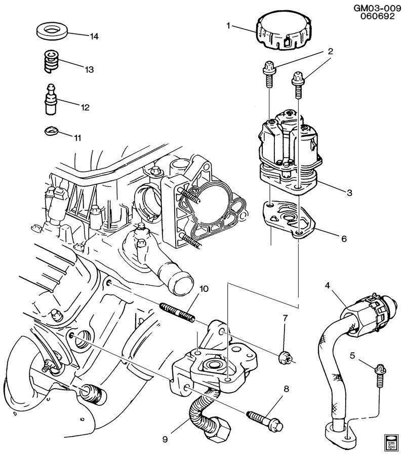 1993 Pontiac Bonneville Transmission: E.G.R. VALVE & RELATED PARTS-V6 3.8L
