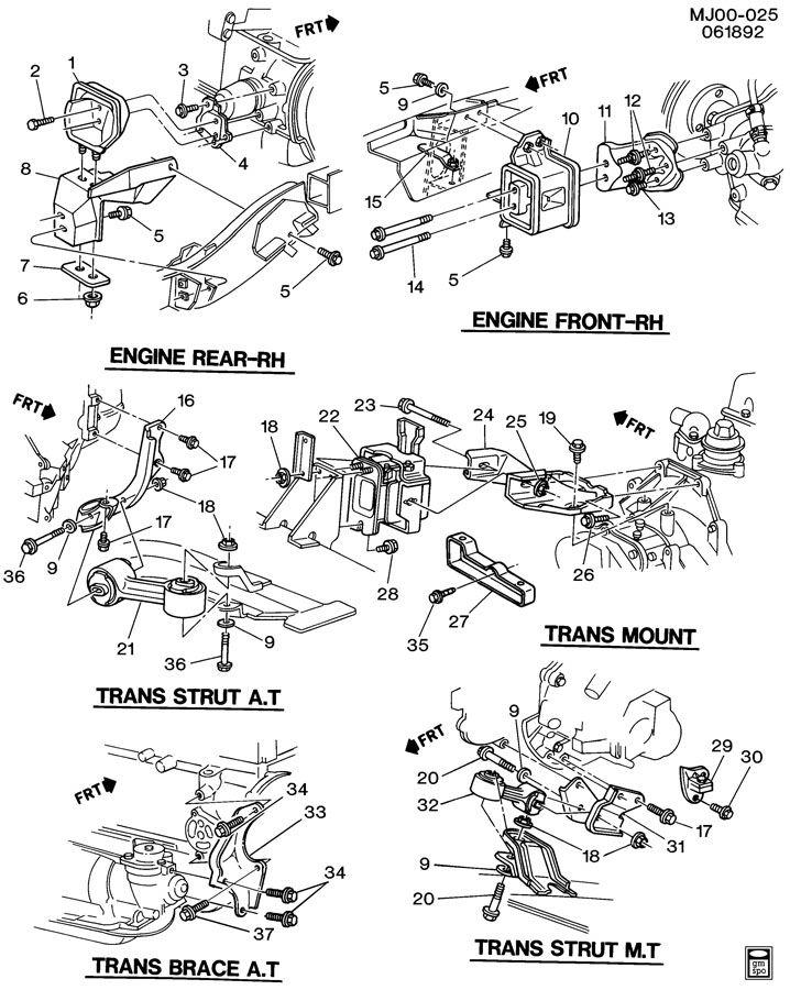 ford transmission parts diagram 1993 chevrolet cavalier engine & transmission mounting-l4