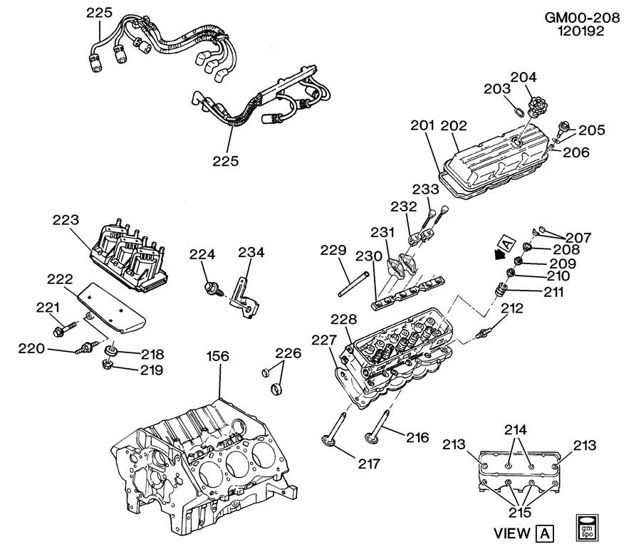 1992 Buick Park Avenue Head Gasket: ENGINE ASM-3.8L V6 PART 2 CYLINDER HEAD AND RELATED PARTS