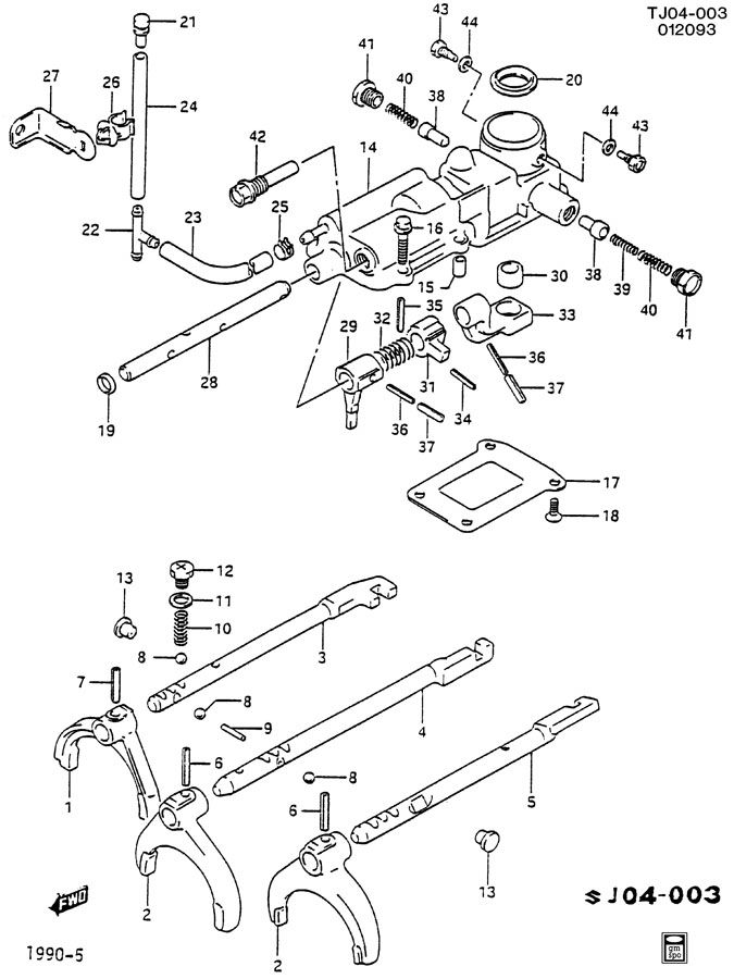 96058384 - GM Seat. Transmission shift control shaft ...
