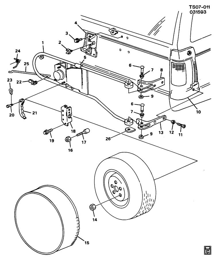 SPARE WHEEL CARRIER Diagram