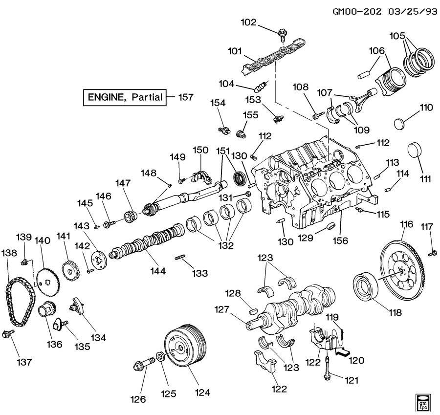 1993 Gmc Yukon Camshaft: 1993 Buick Lesabre ENGINE ASM-3.8L V6 PART 1 CYLINDER
