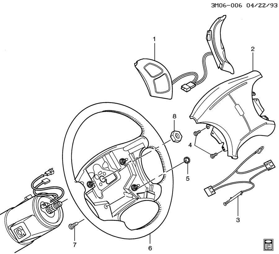 1992 Oldsmobile 98 Interior: STEERING WHEEL & HORN PARTS