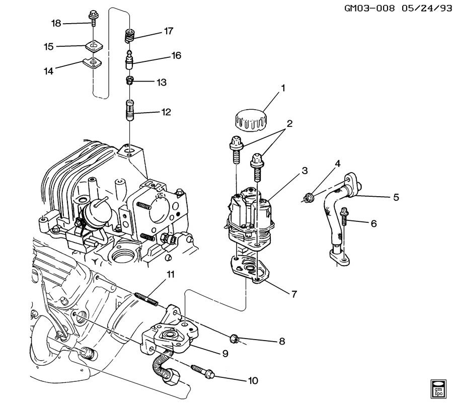 1993 Pontiac Bonneville Transmission: E.G.R. VALVE & RELATED PARTS-V6 3.8-1