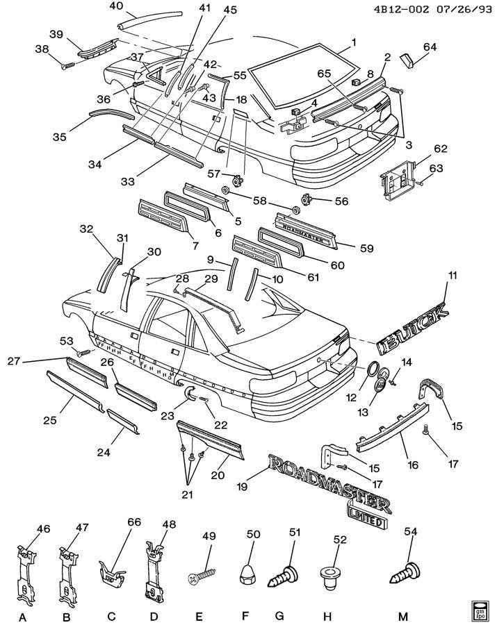nos  buick roadmaster rear quarter panel body side