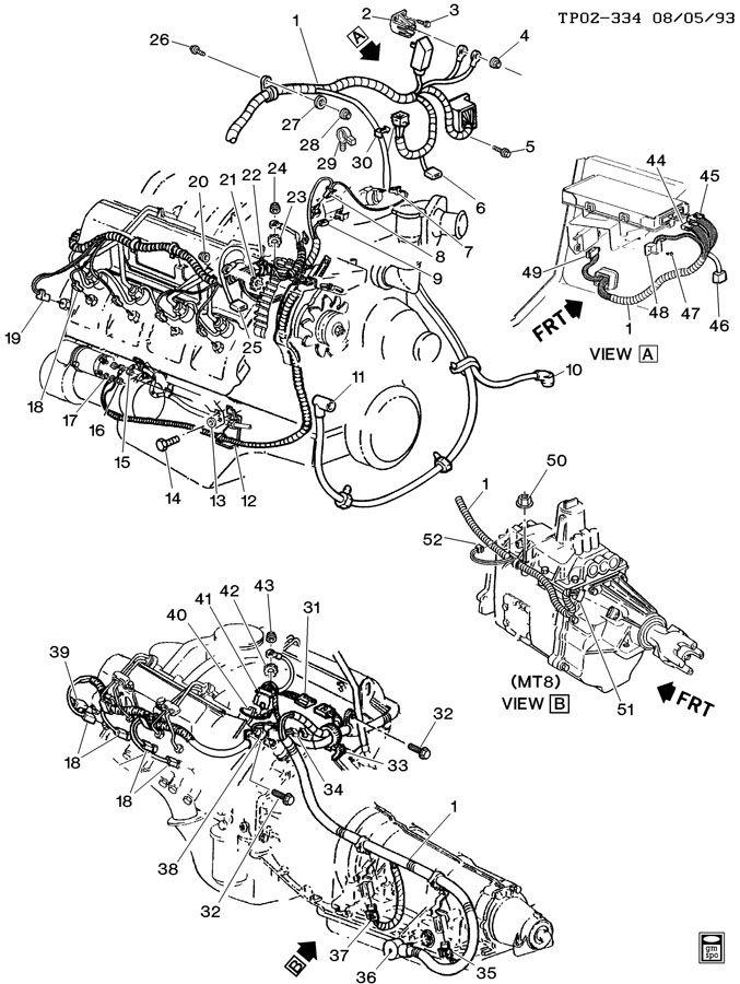 1984 pontiac parisienne brougham wiring harness  engine
