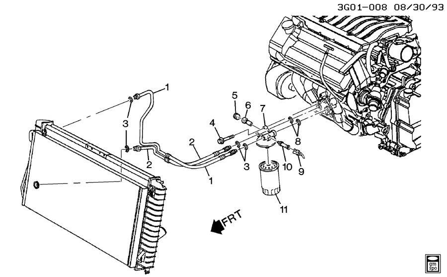 oldsmobile aurora engine oil cooler lines