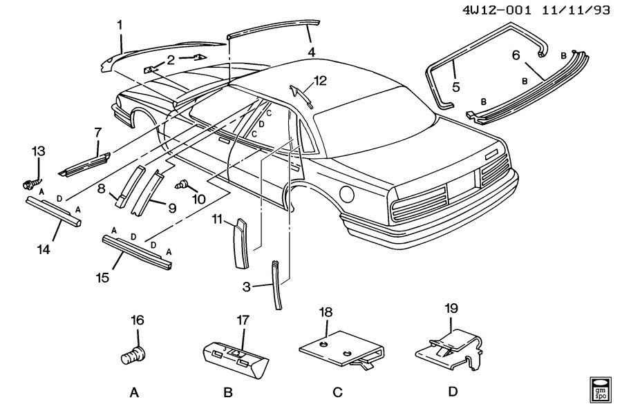 1992 Buick Regal Moldings  Body