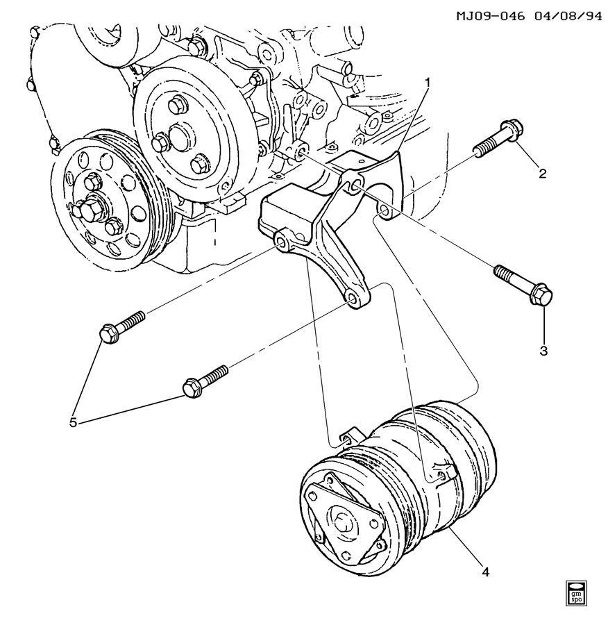 1995 Pontiac Sunfire Transmission: A/C COMPRESSOR MOUNTING