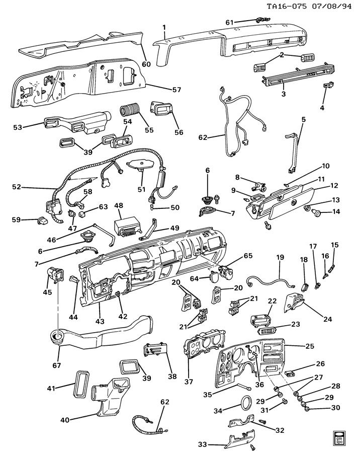 Diagram INSTRUMENT PANEL & RELATED PARTS for your 1989 Chevrolet V20