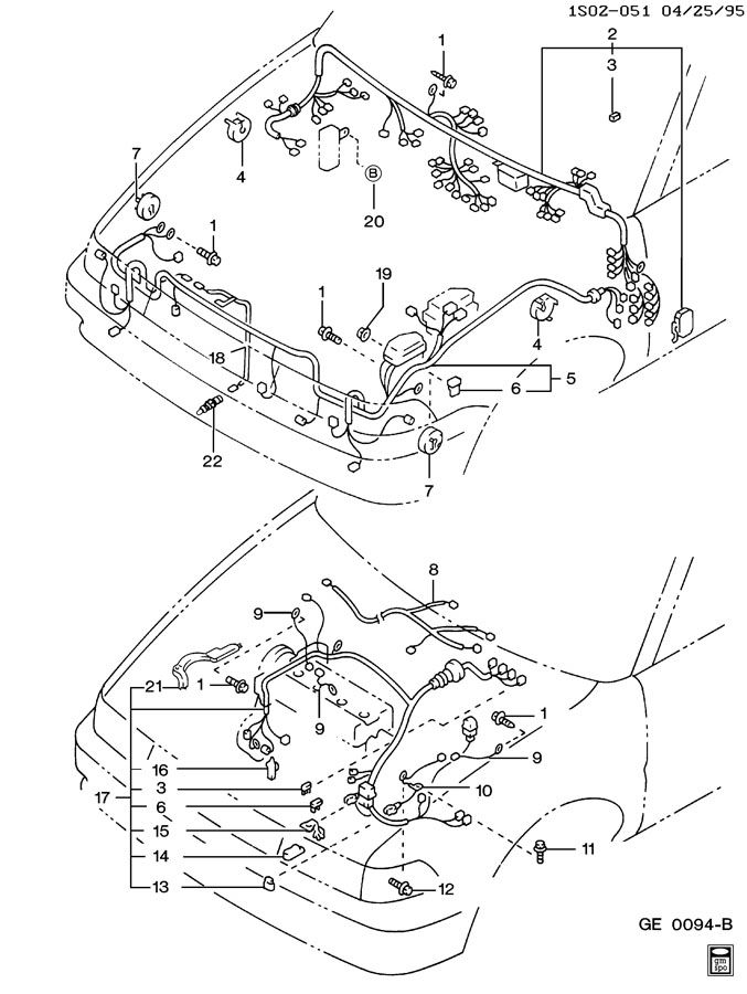 1990 Geo Prizm Wiring Harness Engine  Forward Lamp   U0026 I  P