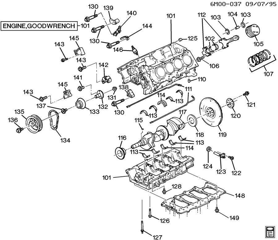 cadillac 4 9 belt diagram: 1998 cadillac eldorado engine asm-4 6l v8  part