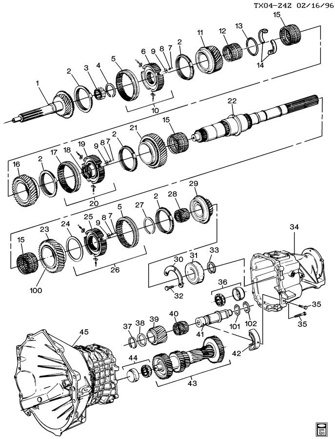 1997 Chevrolet Express 2500 Manual Transmission Hub Replacement Diagram