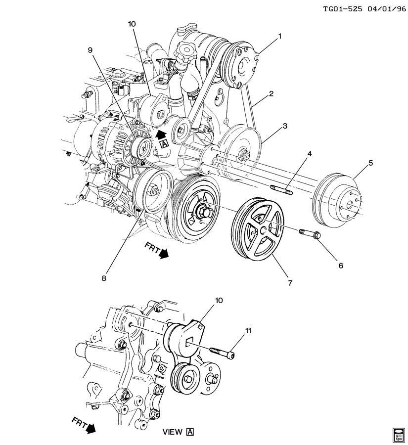 1999 gmc savana pulleys  u0026 belts