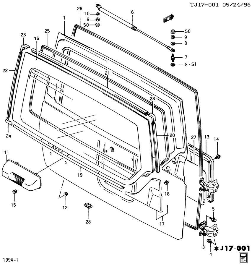 Geo Tracker Clip  Body Interior Trim  Rear Compartment
