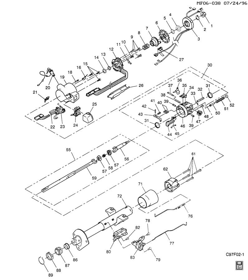 service manual  2005 ford e250 tilt steering lever repair