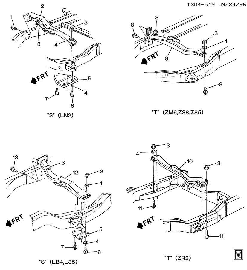 1995 Chevrolet Blazer Transmission: FRAME/TRANSMISSION SUPPORTS