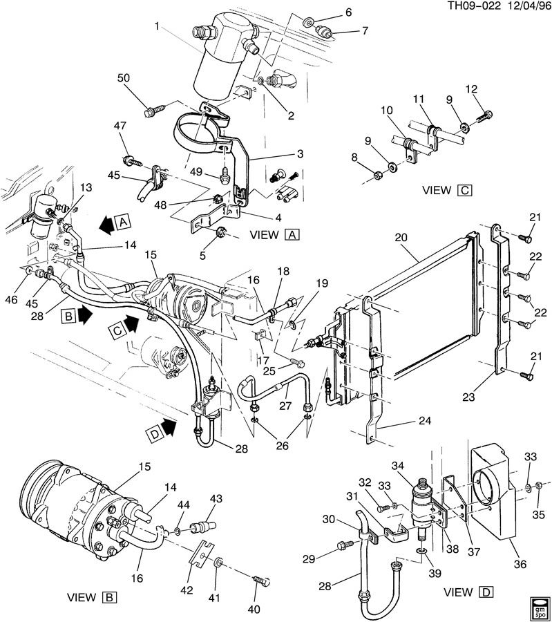Gmc C6500 Hose  Air Conditioning  A  C  Compressor And