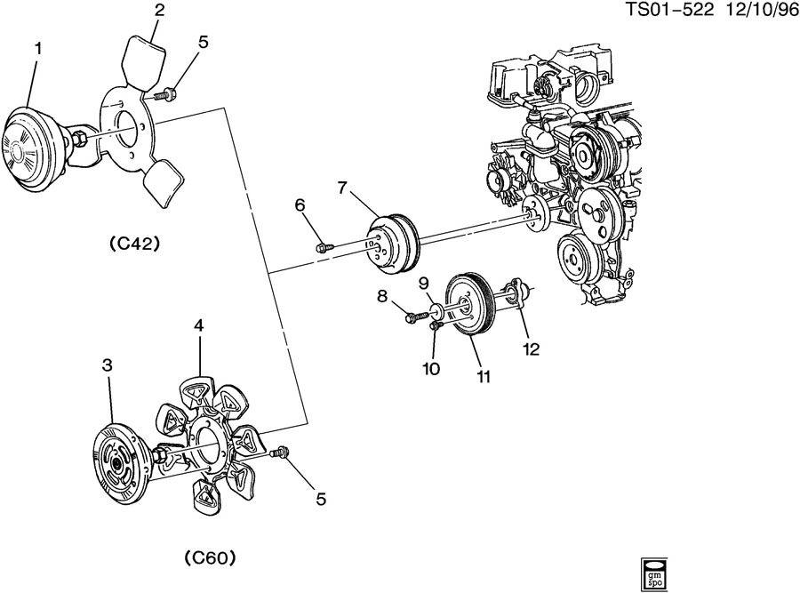 1998 Chevrolet S10 Bolt. Engine crankshaft pulley and ...