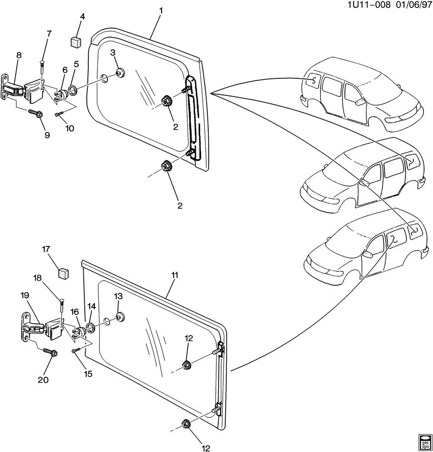 Chevrolet venture side window hardware rear body swing out for 2002 chevy venture window switch