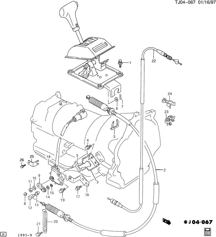 Geo Tracker Clamp  Transmission Throttle Valve Control  Clamp  A  Trns T  V Cbl