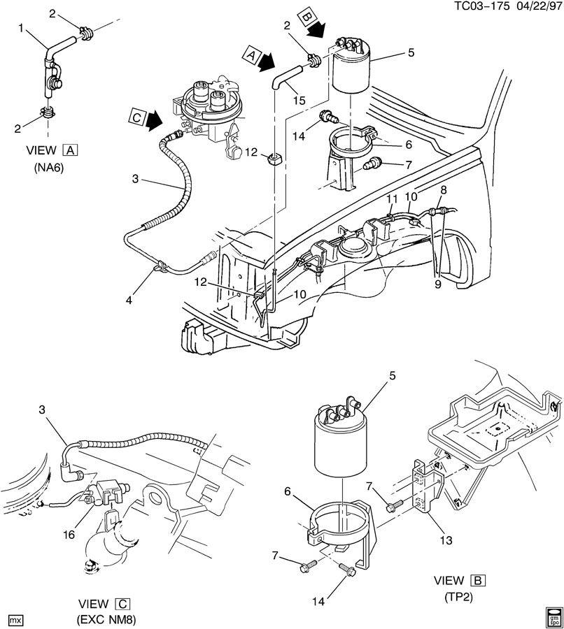 1994 chevrolet k1500 canister  fuel tank evaporator  purge control  emisacdelco  juacdelco
