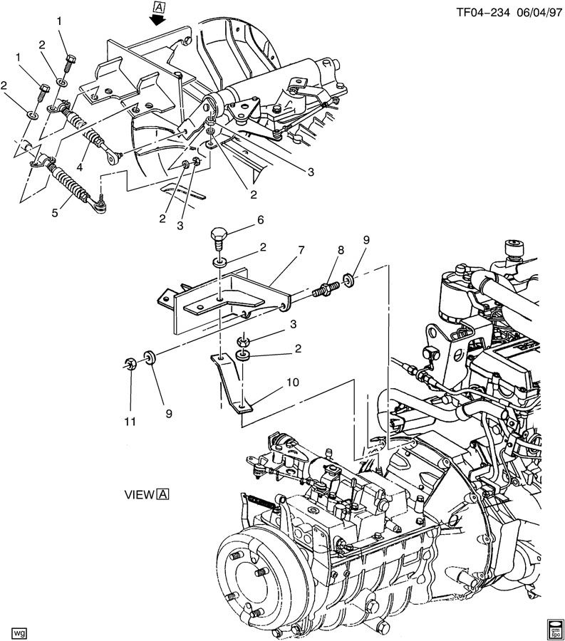 manual transmission control cable brackets to transmission