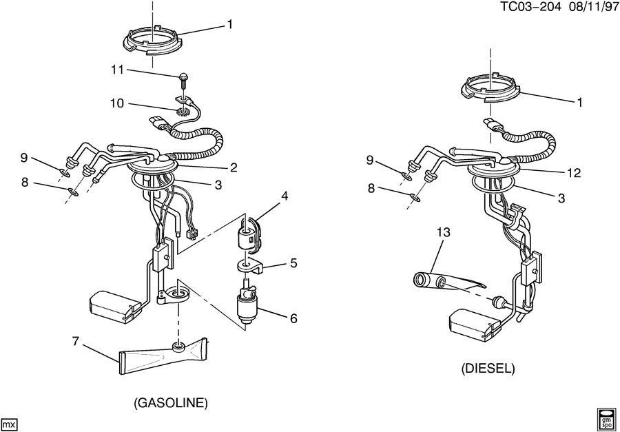 1996 Chevrolet C3500 Sender Kit  Fuel Tank Meter  Pump