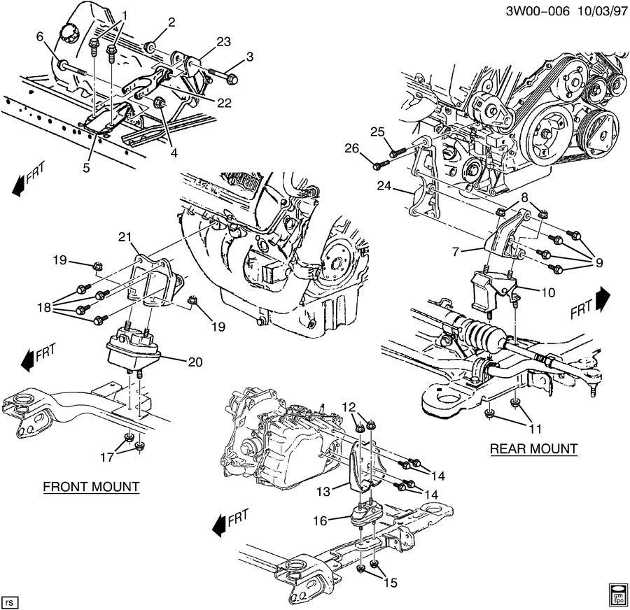2002 oldsmobile intrigue engine transmission mounting