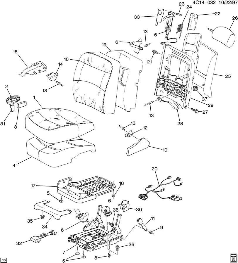 Diagram SEAT ASM/PASSENGER for your 2010 Chevrolet Impala