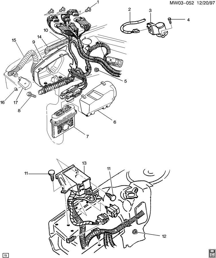 1996 oldsmobile cutlass p c m  module  u0026 wiring harness