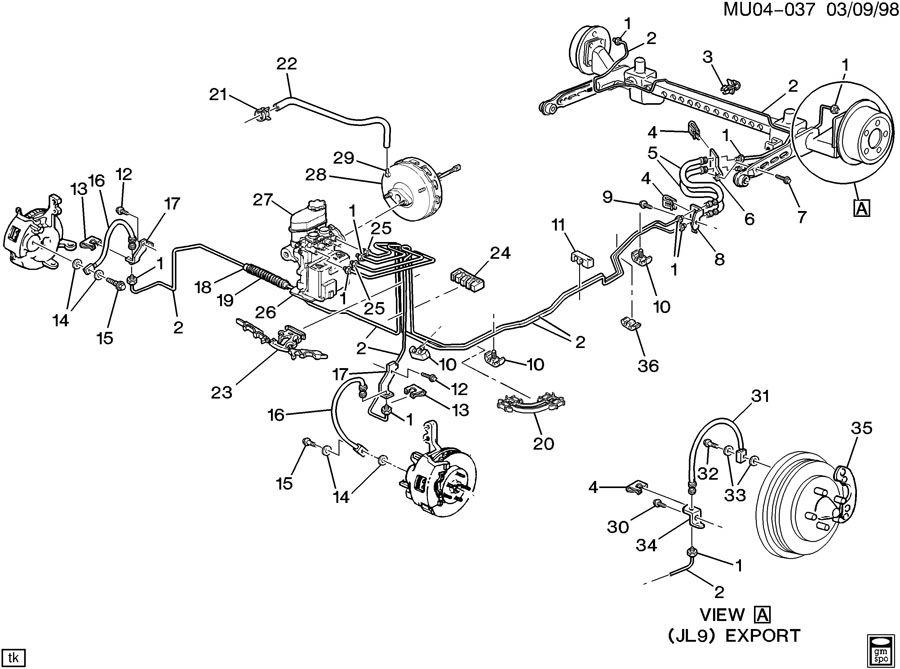 2003 Pontiac Grand Prix Hose. Hydraulic brake. Hose, frt ...