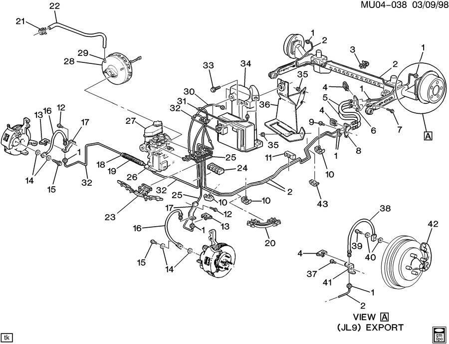 1998 pontiac montana brake hoses  u0026 pipes