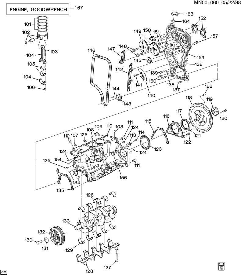 engine asm 2 4l l4 part 1 cylinder block related parts
