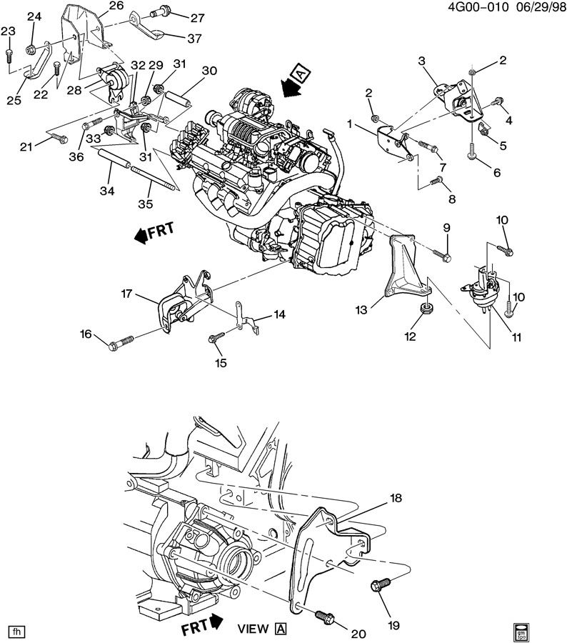 1995 Buick Riviera Engine  U0026 Transmission Mounting