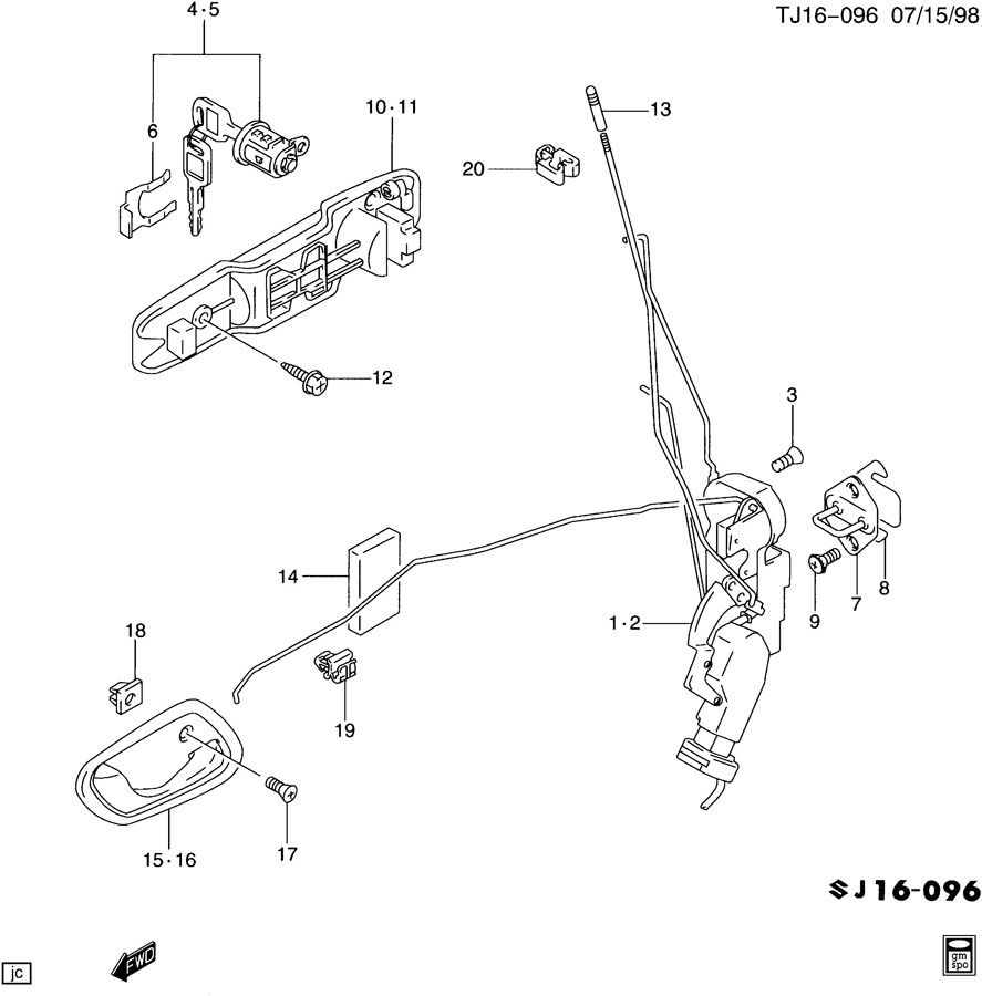 99 Gmc Driver Door Parts Diagram Wiring Diagrams 2002 Envoy Auto Service Manual Chevrolet Tracker Latch 2001 2007