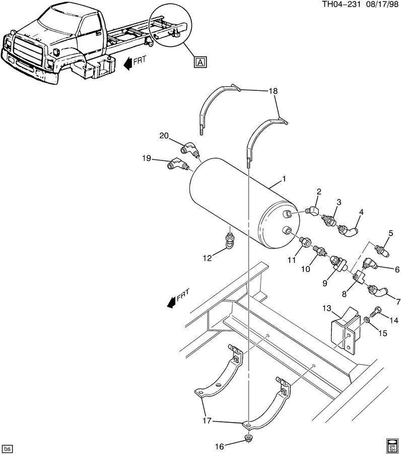 Gmc C7500 Reservoir  Brake Vacuum And Air Reservoir