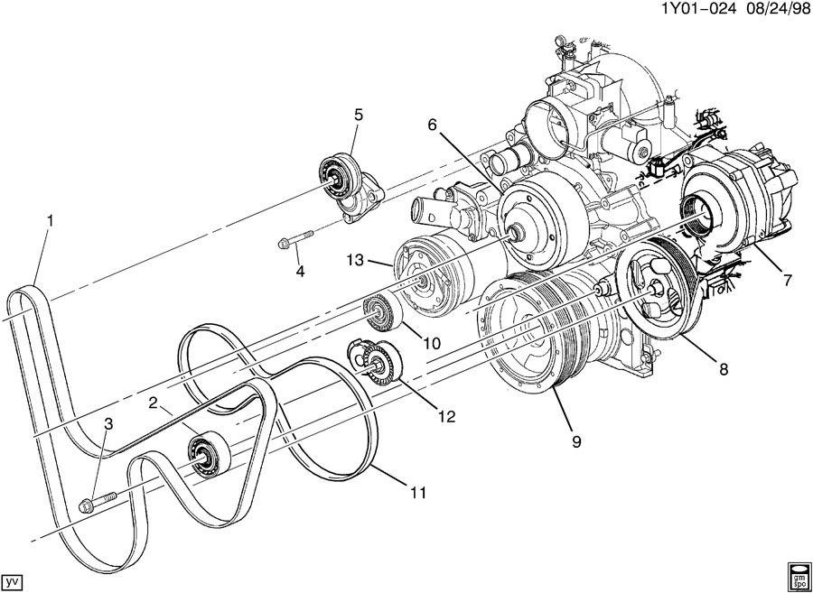 2000 chevrolet corvette pulleys  u0026 belts  accessory drive