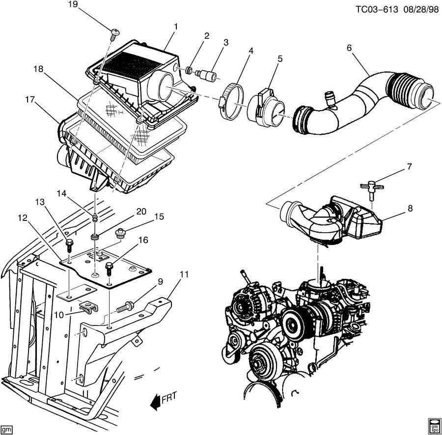 chevrolet silverado resonator  air cleaner intake