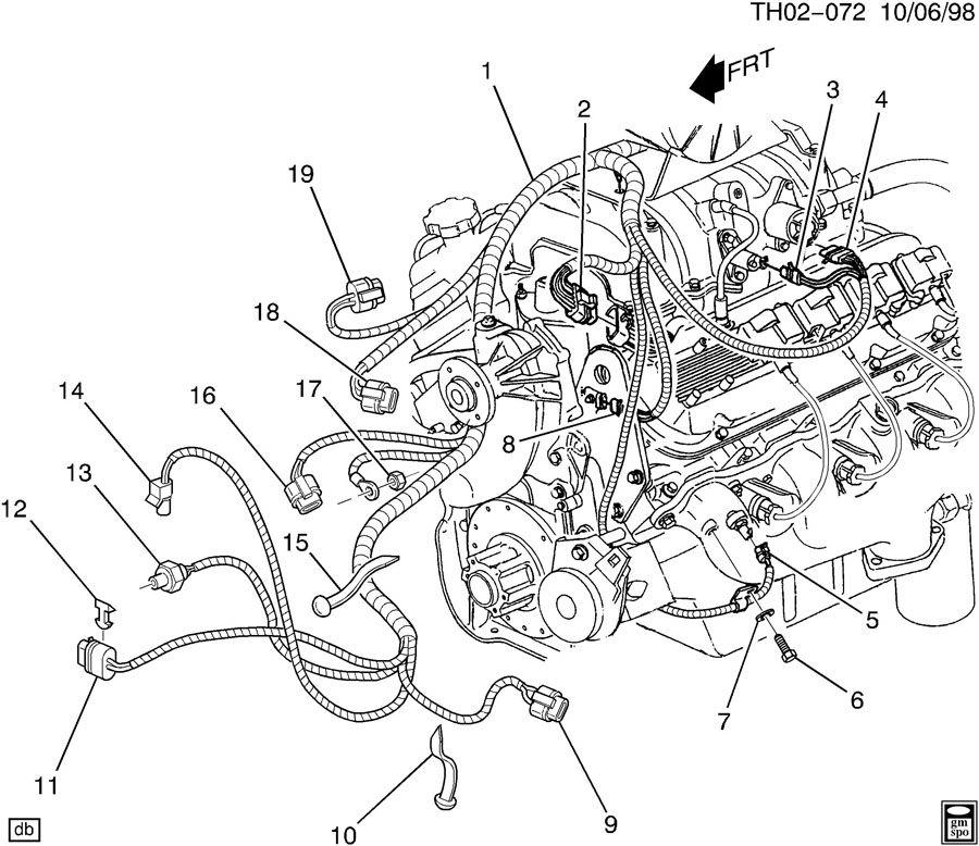 1988 chevrolet cavalier wiring harness  engine part 1