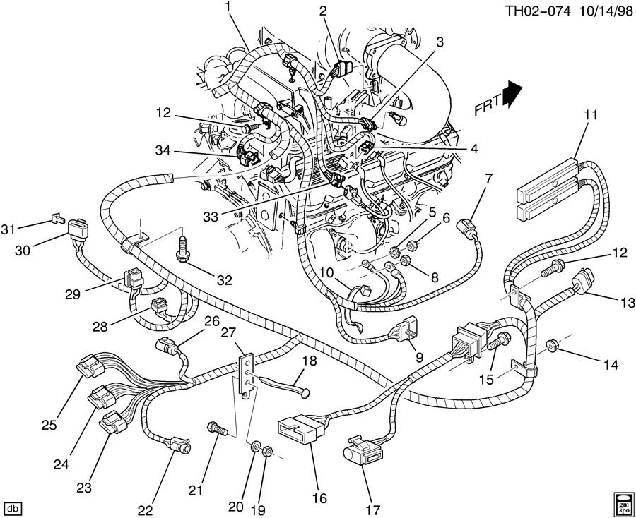 Gmc C8500 Connector  Chassis  Engine Wiring Harness