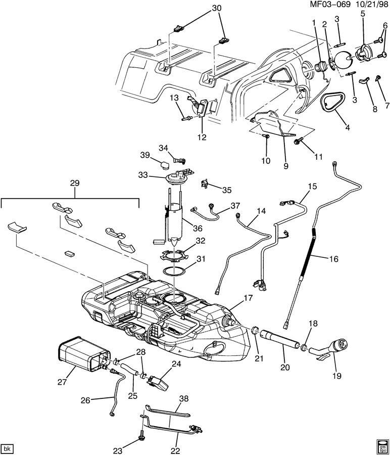 2002 Chevrolet Camaro Base Convertible Hose  Evaporation